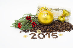 Christmas composition with coffee beans, 2015,on a white background Royalty Free Stock Images