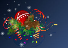 Christmas composition. With cone and streamers Royalty Free Stock Photography