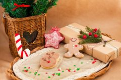 Christmas composition with cookies. Present and  firtree Royalty Free Stock Photo