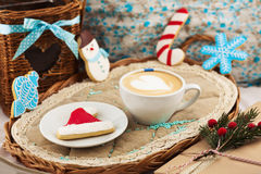 Christmas composition with cookies and coffee. Christmas composition with cookies, coffee, pine and gift Stock Images