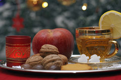 Christmas Composition with a Cup of Tea Royalty Free Stock Images