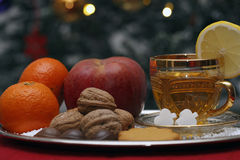 Christmas Composition with a Cup of Tea Stock Images