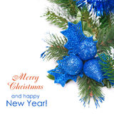 Christmas composition with decorations and fir branches  Stock Images