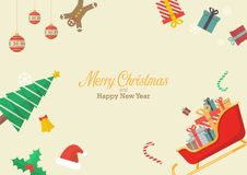 Christmas composition with decorations and gift boxes. Greeting card Vector illustration Royalty Free Stock Photography