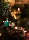 Star on the Christmas tree. Holiday card. Christmas decor. Place for text stock photos