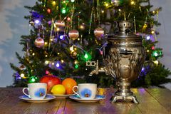Christmas composition. With dressed Christmas tree in the background royalty free stock images