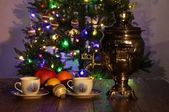Christmas composition with dressed Christmas tree in the background.  royalty free stock photography