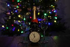 Christmas composition with dressed Christmas tree in the background.  stock photos