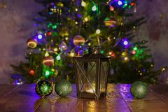 Christmas composition with dressed Christmas tree in the background.  stock photo