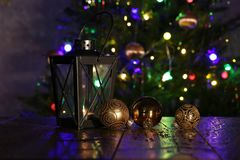 Christmas composition with dressed Christmas tree in the background.  stock images