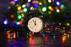 Christmas composition with dressed Christmas tree in the background.  royalty free stock photos
