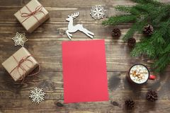 Christmas empty blank letter for Santa or your wishlist or advent activities. Top view and space for your text. Stock Photography