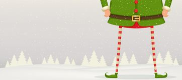 Christmas composition of feet and hands of Elf standing in the s. Now . Festive New Year background Royalty Free Stock Photo