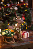 Christmas composition with figure of deer Royalty Free Stock Images