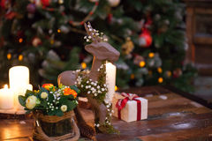 Christmas composition with figure of deer Royalty Free Stock Photos