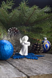 Christmas Composition. Fir Branch, Angel, Baubles, Cones And Star. Royalty Free Stock Image