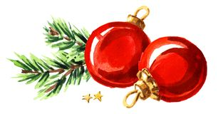 Christmas composition with fir branch and red ball. Watercolor hand drawn illustration isolated on white background. Christmas composition with fir branch and Royalty Free Stock Photos