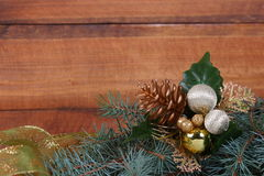 Christmas composition with fir branches Stock Photos