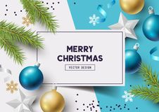 Top Down Christmas Composition. Christmas Composition with fir branches, christmas baubles and snowflakes on a colorful abstract background. Top view vector Royalty Free Stock Photo