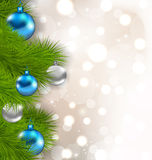 Christmas composition with fir branches and glass balls Stock Image