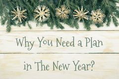 Christmas composition with Fir branches on wooden background. Contains text - Why you need a plan in the new year. Top View Stock Photos