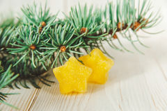 Christmas Composition with fir branches and yellow  jujube stars. Christmas Composition with fir branches and yellow jujube stars.Selective focus Royalty Free Stock Images