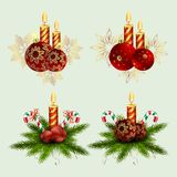 Christmas composition of fir green branches, burning candles and balls with snowflakes with a staff, design element. Christmas composition of fir green branches vector illustration