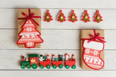 Christmas composition with fir tree clothespin, train. Top view, flat lay. Royalty Free Stock Photos