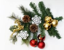 Christmas composition with fir tree, cones, balls and snowflakes. Isolated white Stock Photography