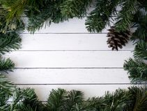 Christmas composition with fir tree and cones. White wood plank background. Christmas composition with fir tree and cones Stock Images