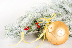 Christmas composition of fir-tree and golden bauble on light wo Royalty Free Stock Photos