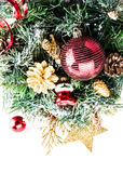 Christmas composition with fir tree, snow and decorations Royalty Free Stock Photo