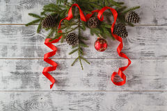 Christmas composition. Frame with fir branches, pine cones, chri Royalty Free Stock Images