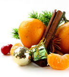 Christmas composition with fresh mandarin oranges Royalty Free Stock Photo
