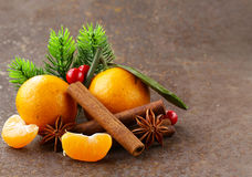 Christmas composition with fresh mandarin oranges Royalty Free Stock Images