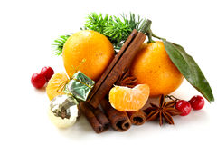 Christmas composition with fresh mandarin oranges Stock Image