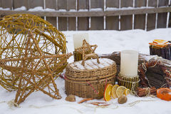 Christmas composition in the garden Stock Image