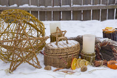 Christmas composition in the garden Royalty Free Stock Image