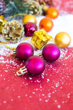 Christmas composition with garland, balls and bumps Stock Images