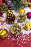 Christmas composition with garland, balls and bumps Stock Photo