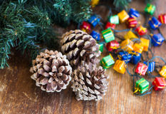Christmas composition with garland and bumps Stock Photo