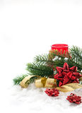 Christmas composition with gift bow, ribbon and branch of christ Royalty Free Stock Image
