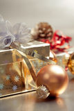 Christmas composition with gift box and baubleot Royalty Free Stock Photo