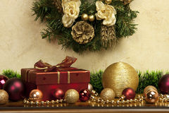 Christmas composition   with gift box and candle Stock Photography
