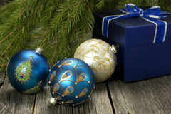 Christmas composition   with gift box and christmas baubles Stock Photo