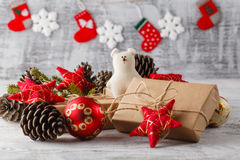 Christmas composition with gift box and decorations Stock Photography