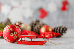 Christmas composition with gift box and decorations Royalty Free Stock Images