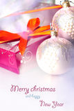 Christmas composition with gift box and decorations. (with sample text Stock Images