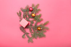 Christmas Composition with Gift box and light, red balls on wooden table Royalty Free Stock Photo