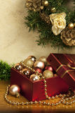Christmas composition   with gift box Royalty Free Stock Photo